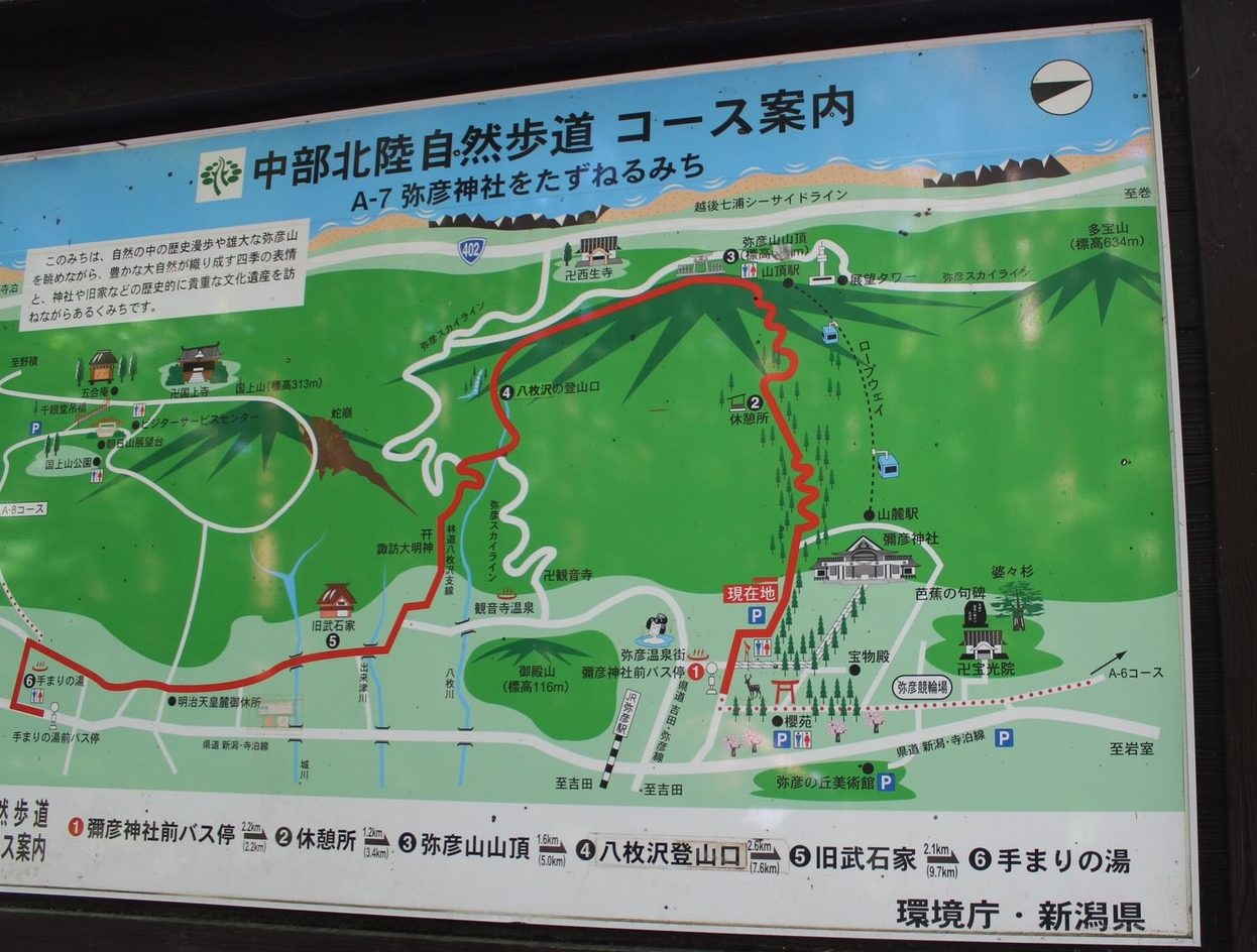 弥彦山の登山ルートマップ